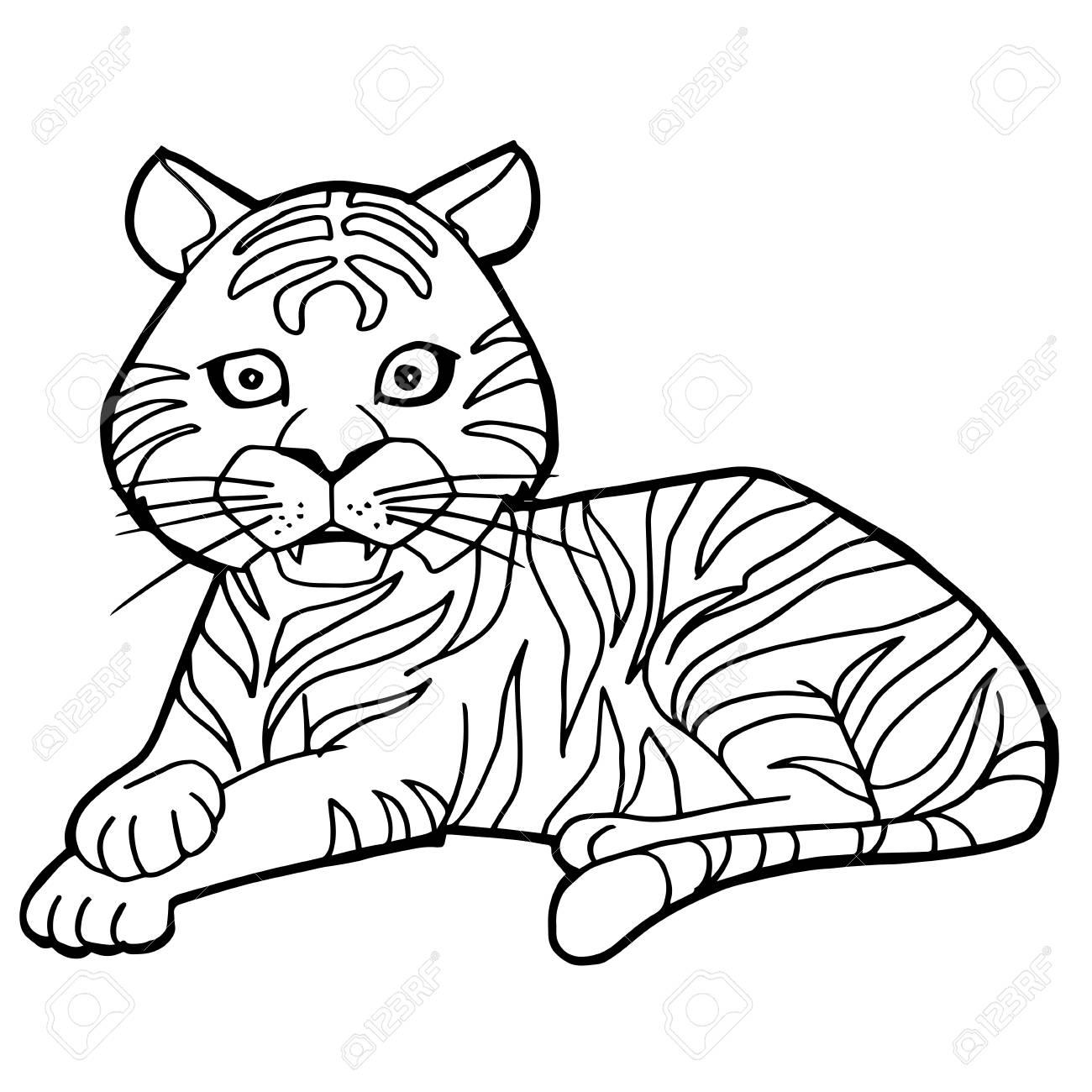 Ilustración De Dibujos Animados Lindo Tigre Para Colorear Página Vectorial