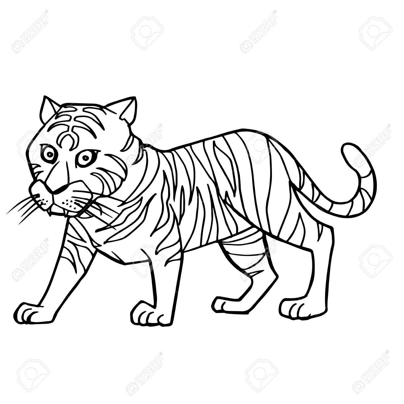 ilustración de dibujos animados lindo tigre para colorear página