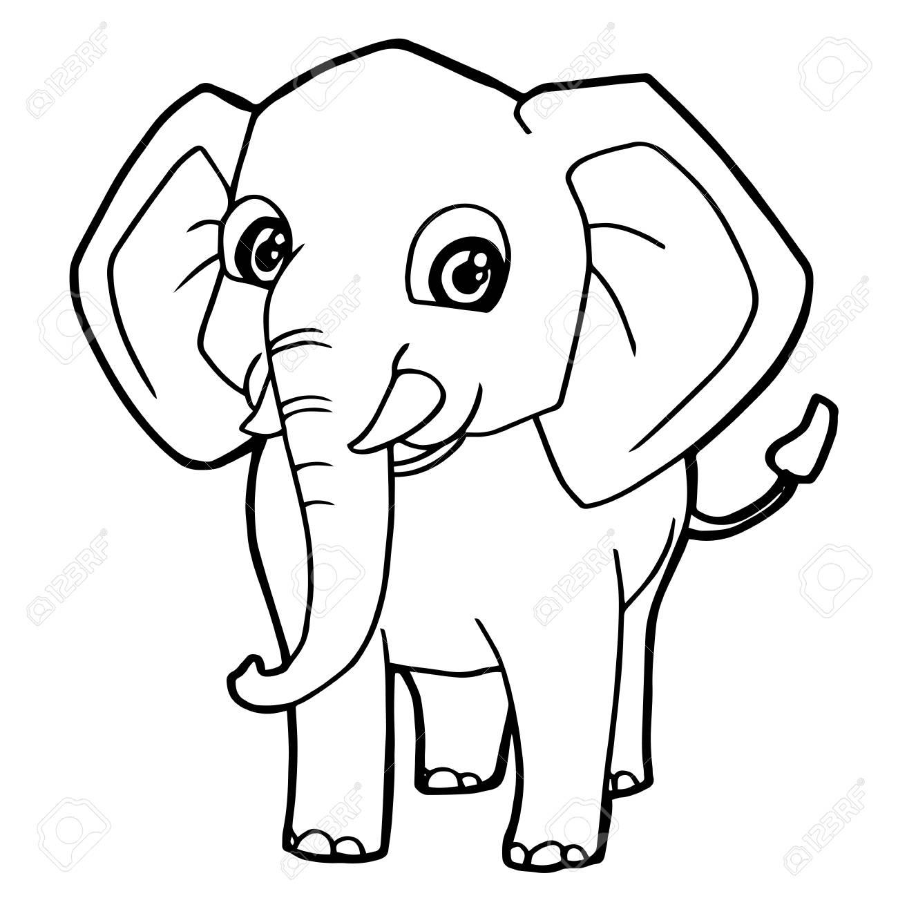 Ilustración De Vector De Página De Dibujos Animados Lindo Elefante