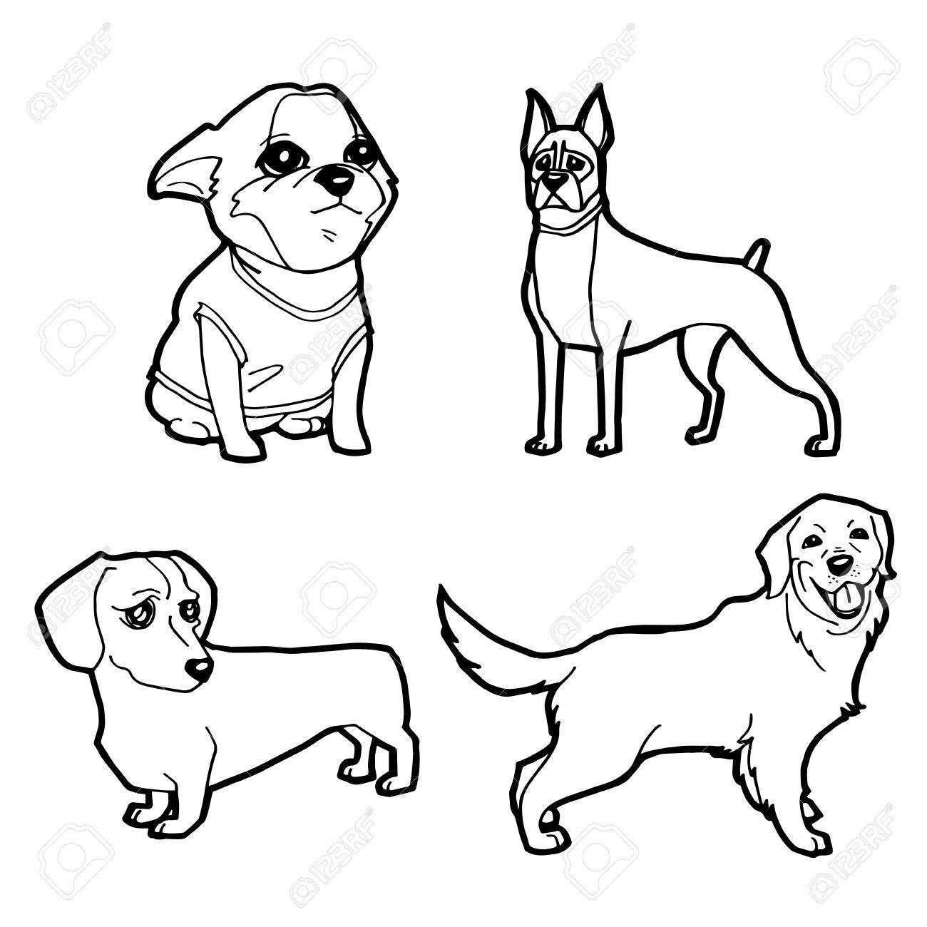 Set Of Cartoon Cute Dog Coloring Page Vector Illustration Royalty ...