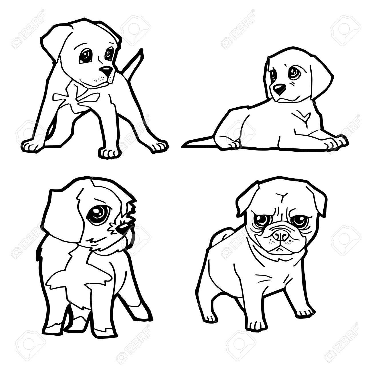 Conjunto De Dibujos Animados Lindo Perro Para Colorear Página Ilustración Vectorial