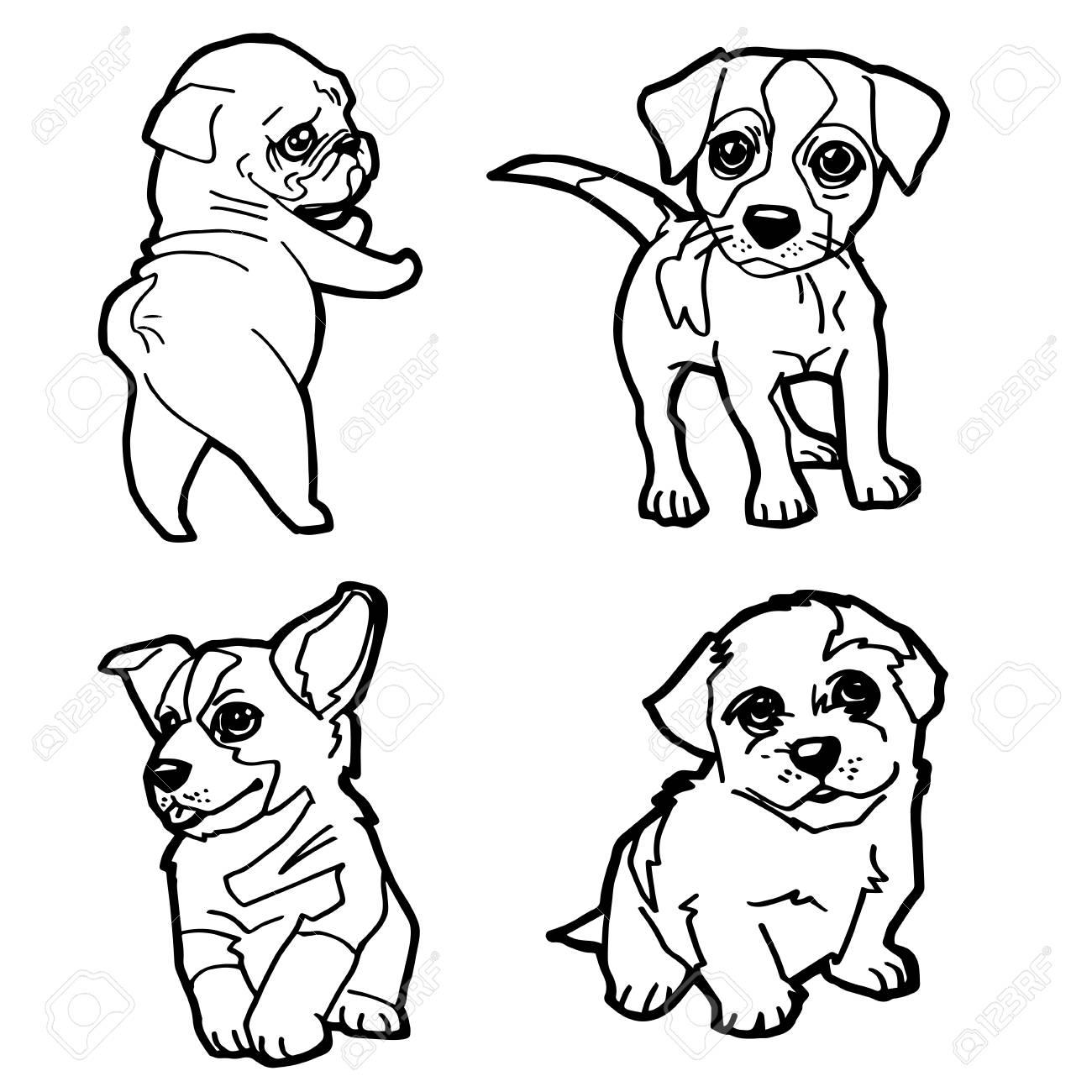 Conjunto De Dibujos Animados Lindo Perro Para Colorear Página