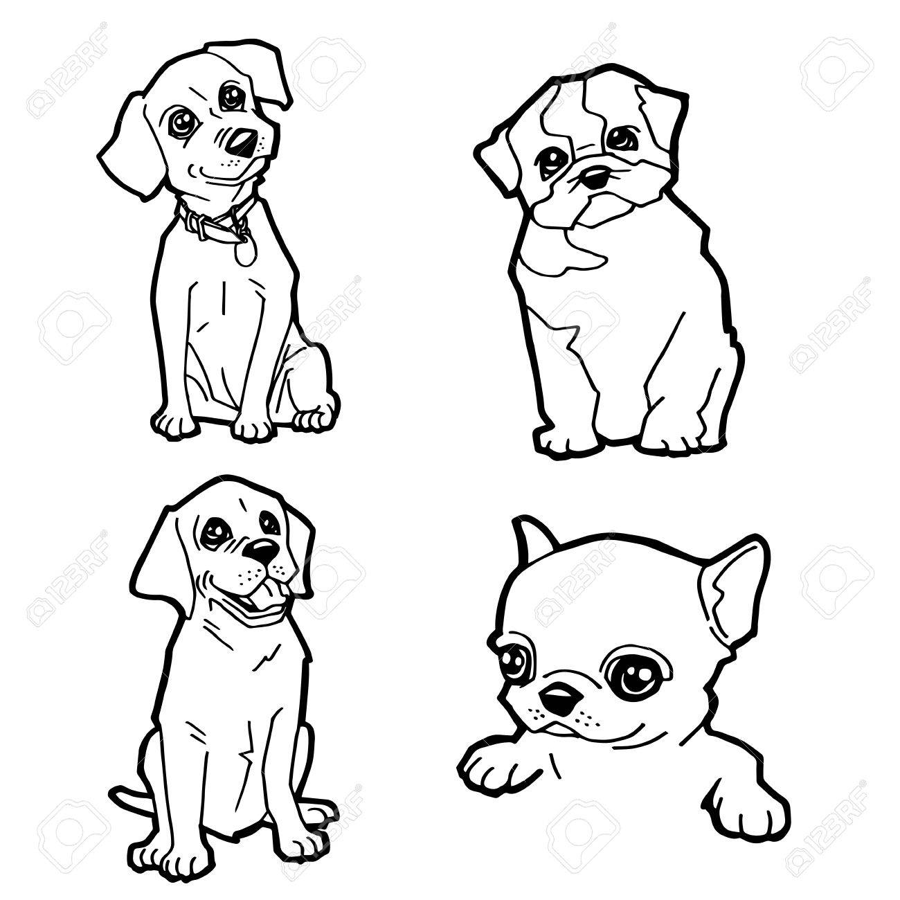 Conjunto De Dibujos Animados Lindo Perro Para Colorear Página ...