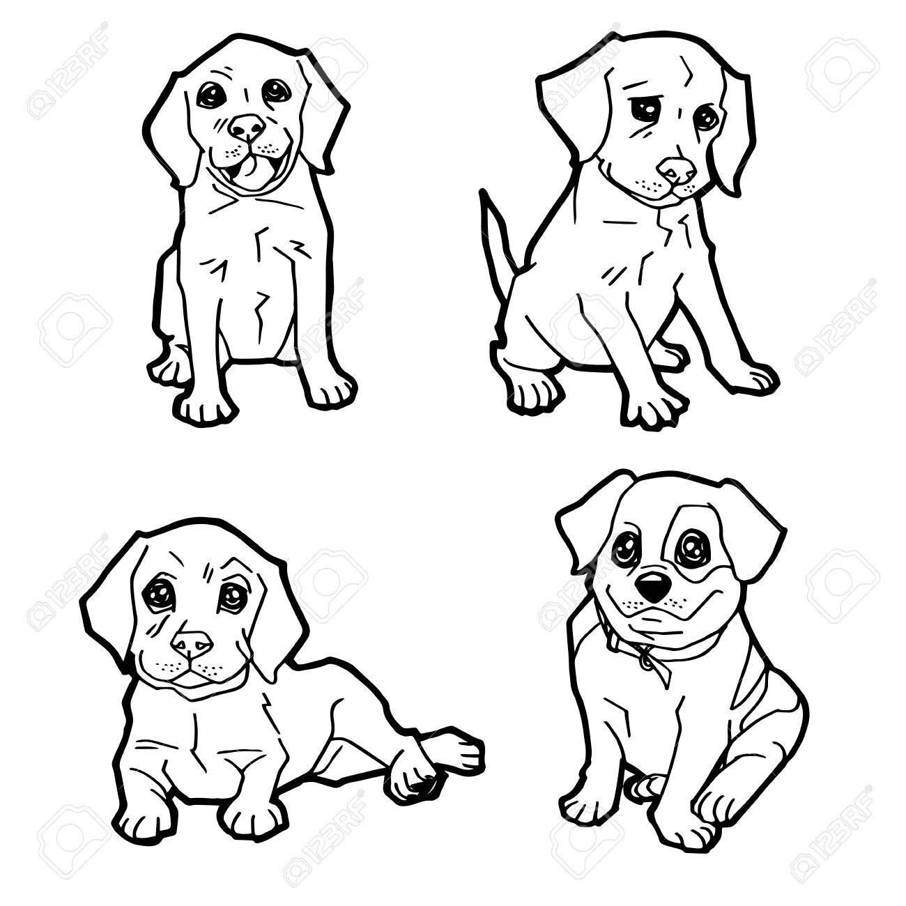 Set Of Cartoon Cute Dog Coloring Page Vector Illustration Stock