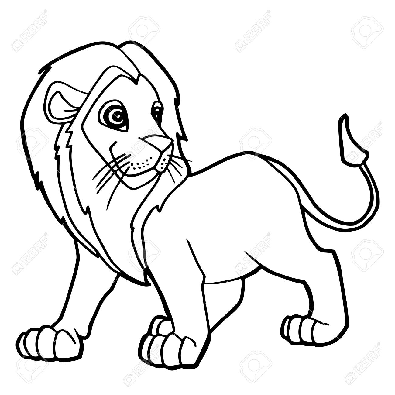 Cartoon Cute Lion Coloring Page Vector Illustration Royalty Free ...