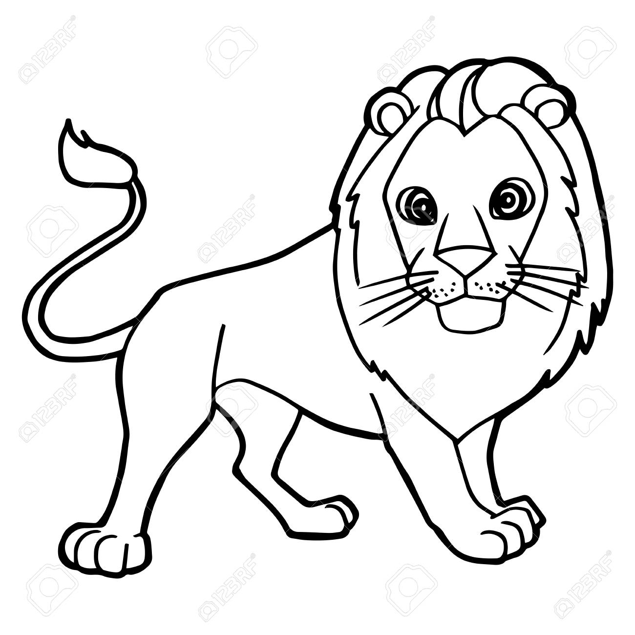 Cartoon Cute Lion Coloring Page Vector Illustration Stock