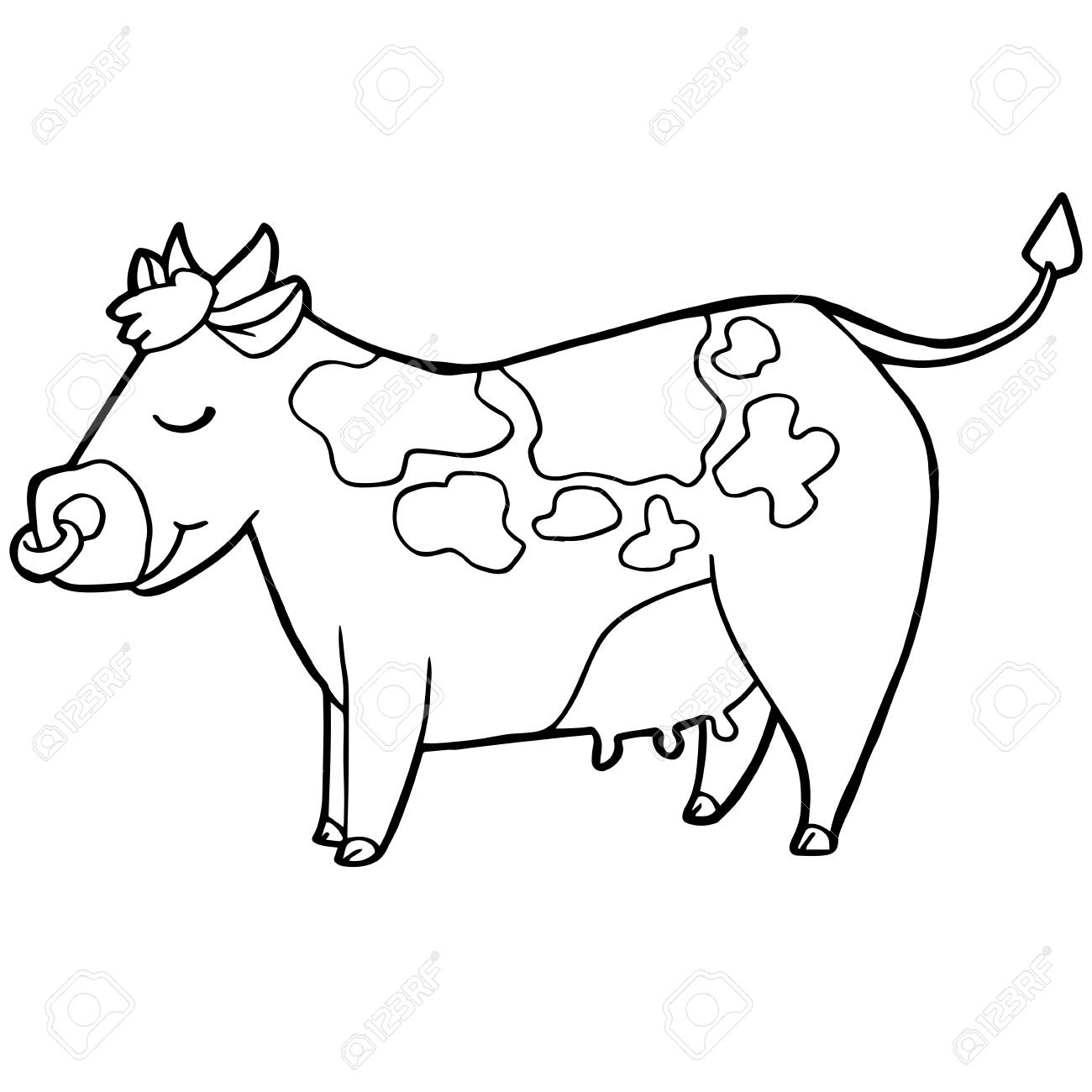 cartoon cute cattle or cow coloring page vector illustration royalty