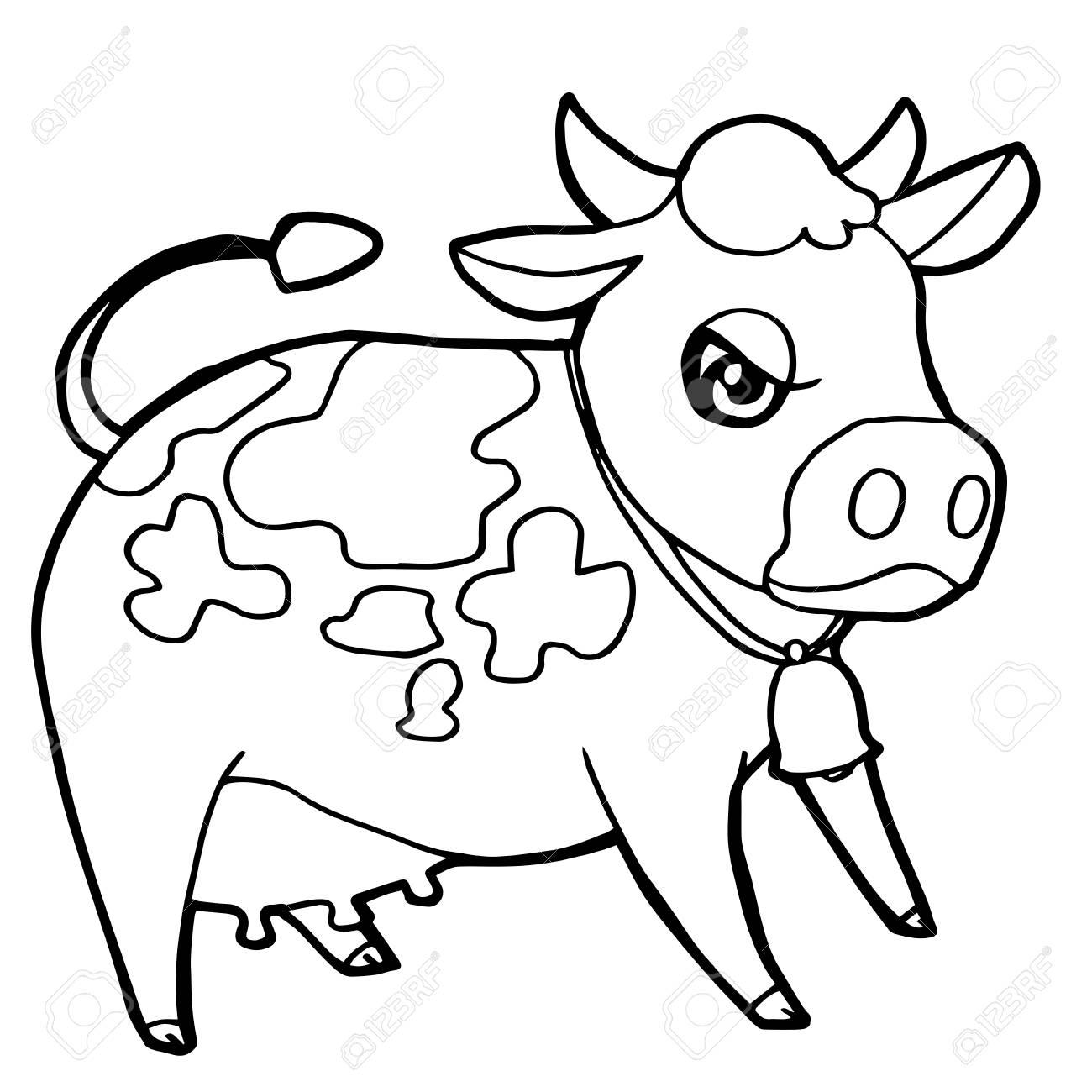 Dibujos Animados Lindo Ganado O Vaca Para Colorear Página