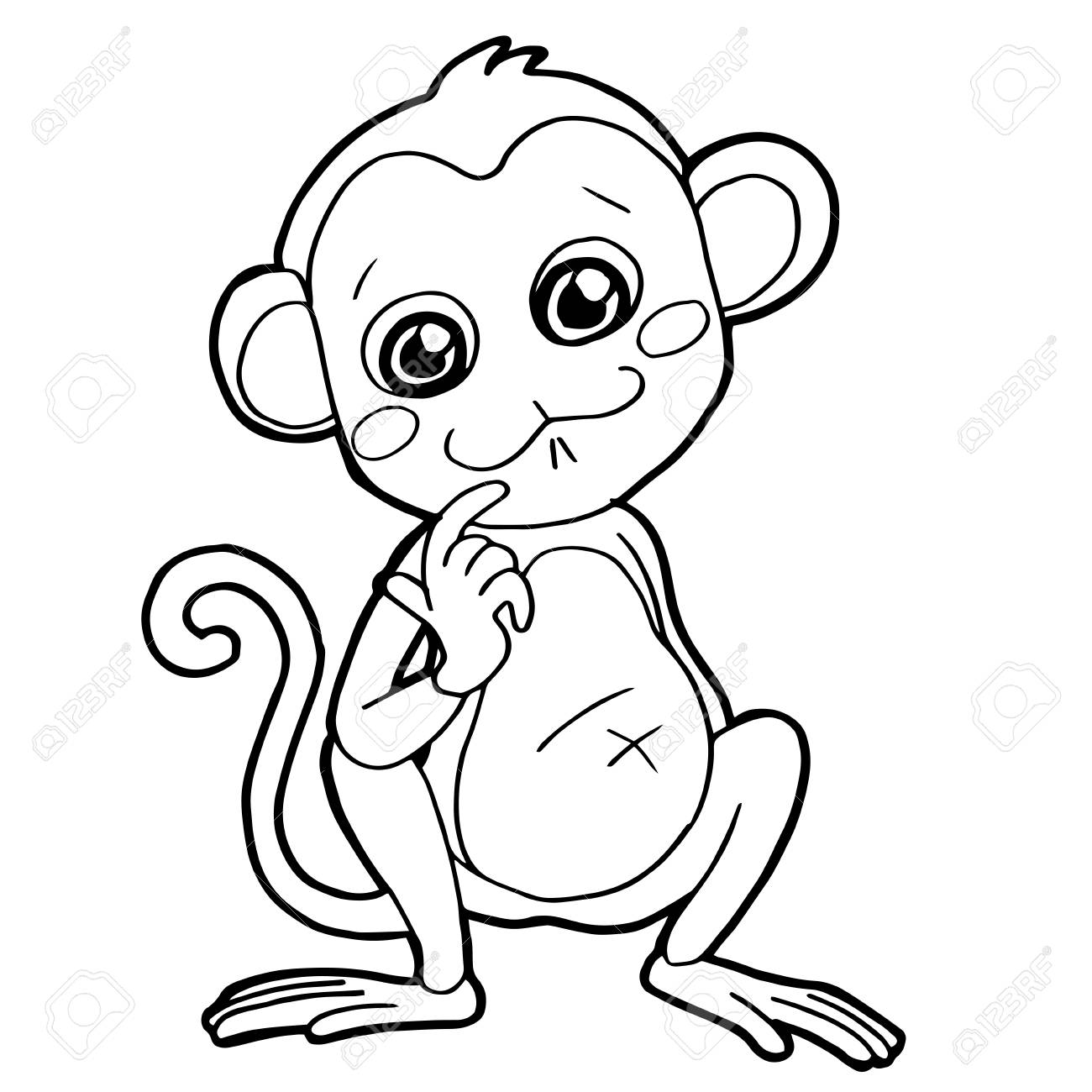 Cartoon Cute Monkey Coloring Page Vector Illustration Royalty Free ...