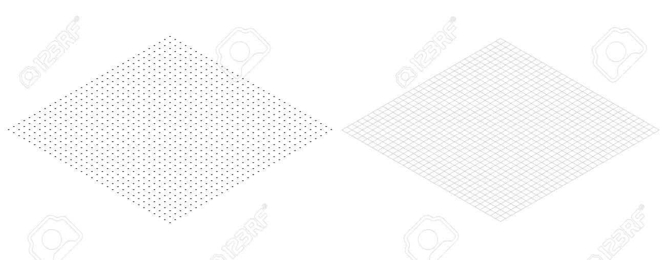 Isometric Grid Line Paper Isometric Grid Dots Vector Royalty Free