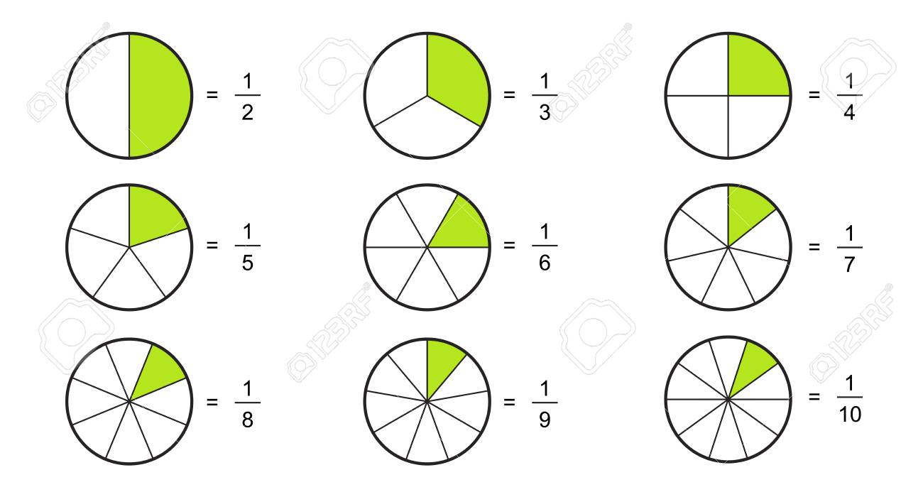 2D 3 D Fraction pie. Fractions for website presentation cover poster flat outline icon isolated on white background.illustration - 117690094
