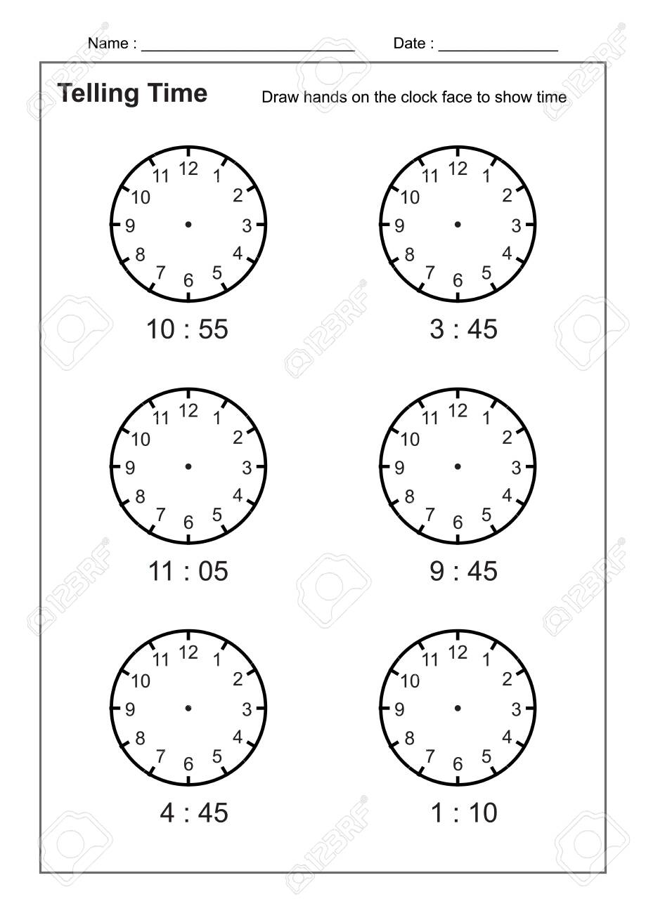 Telling Time Telling the Time Practice for Children Time Worksheets..