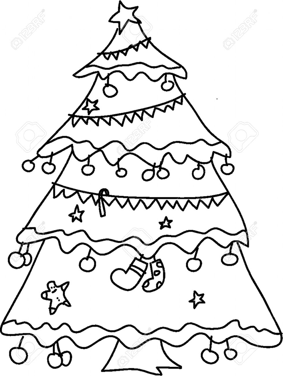 Christmas Tree Hand Sketch Royalty Free Cliparts Vectors And Stock