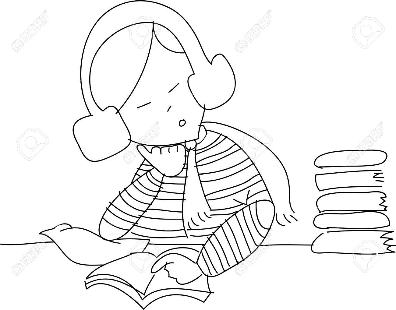 freehand sketch cartoon girl relax reading, illustration Stock Vector - 15706207