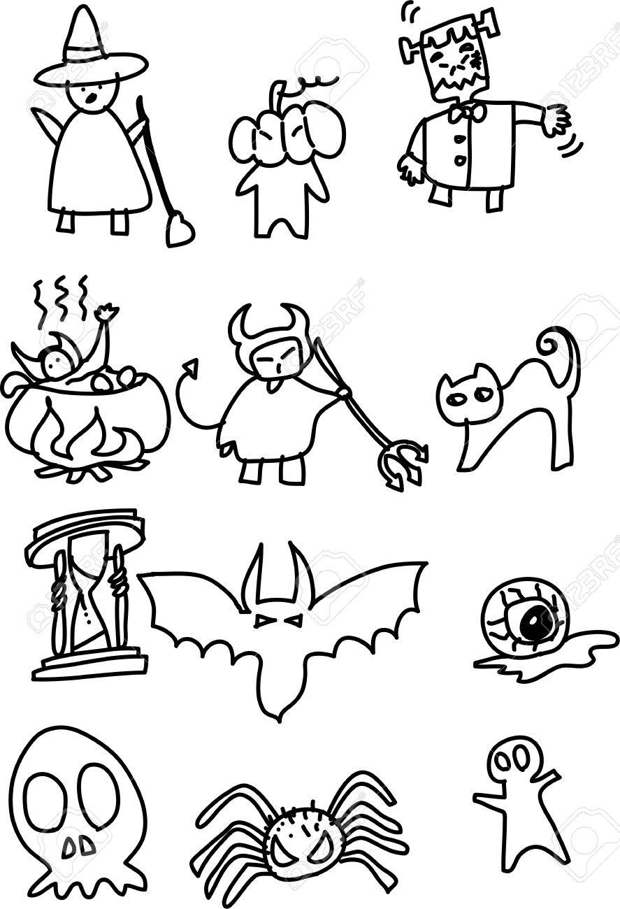 Hand Draw Halloween Cartoon Vector Royalty Free Cliparts Vectors