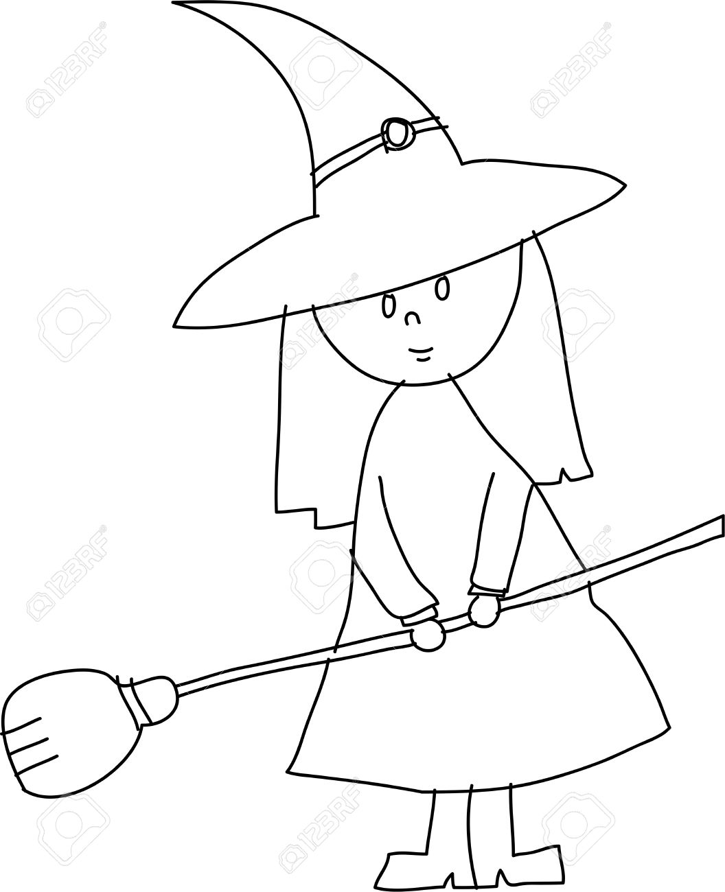 hand draw halloween witch cartoon vector royalty free cliparts