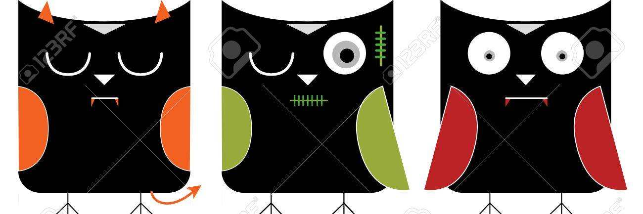 halloween character in owls graphic set Stock Vector - 15834398