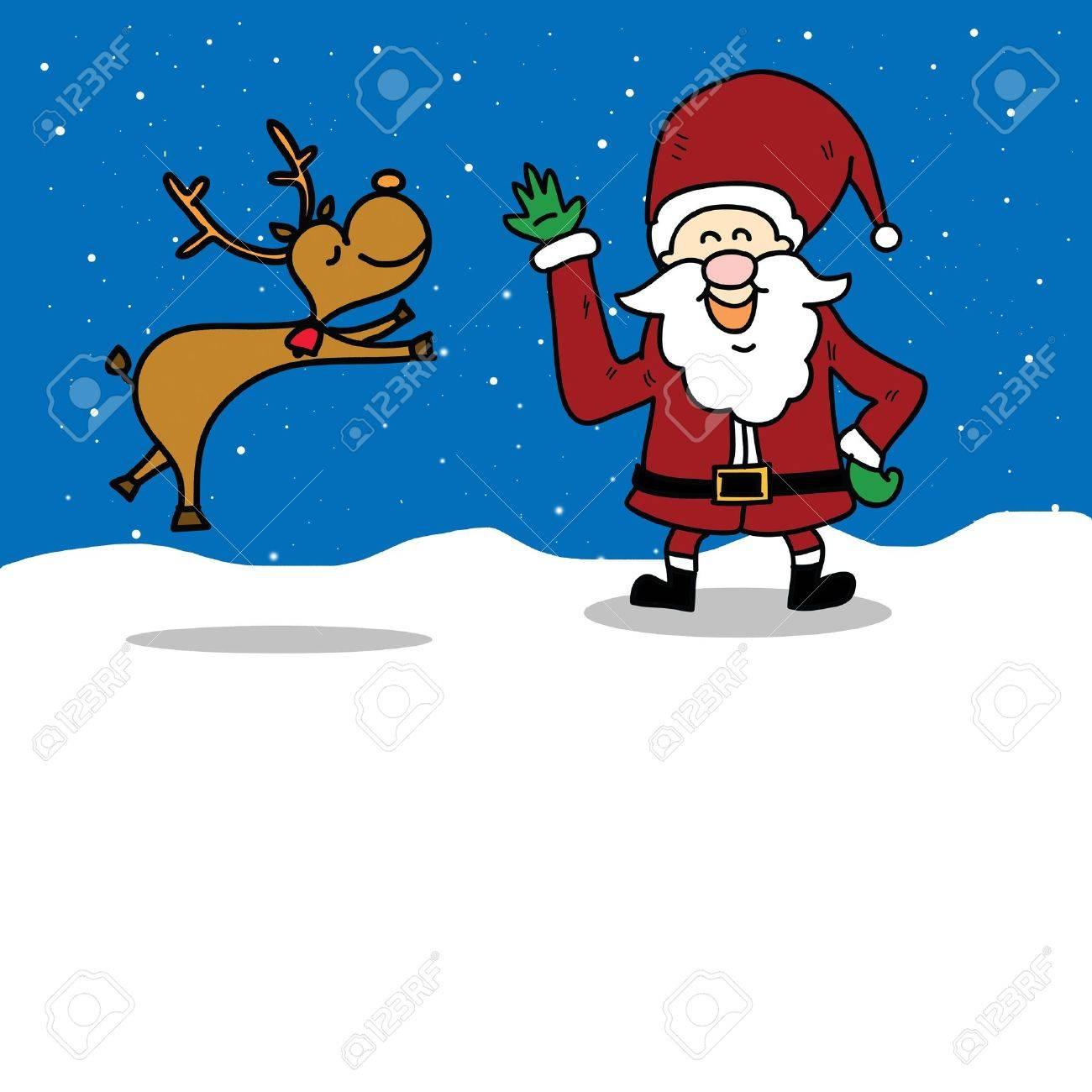 funny santa claus and reindeer cartoon hand drawn illustration Stock Vector - 16055595