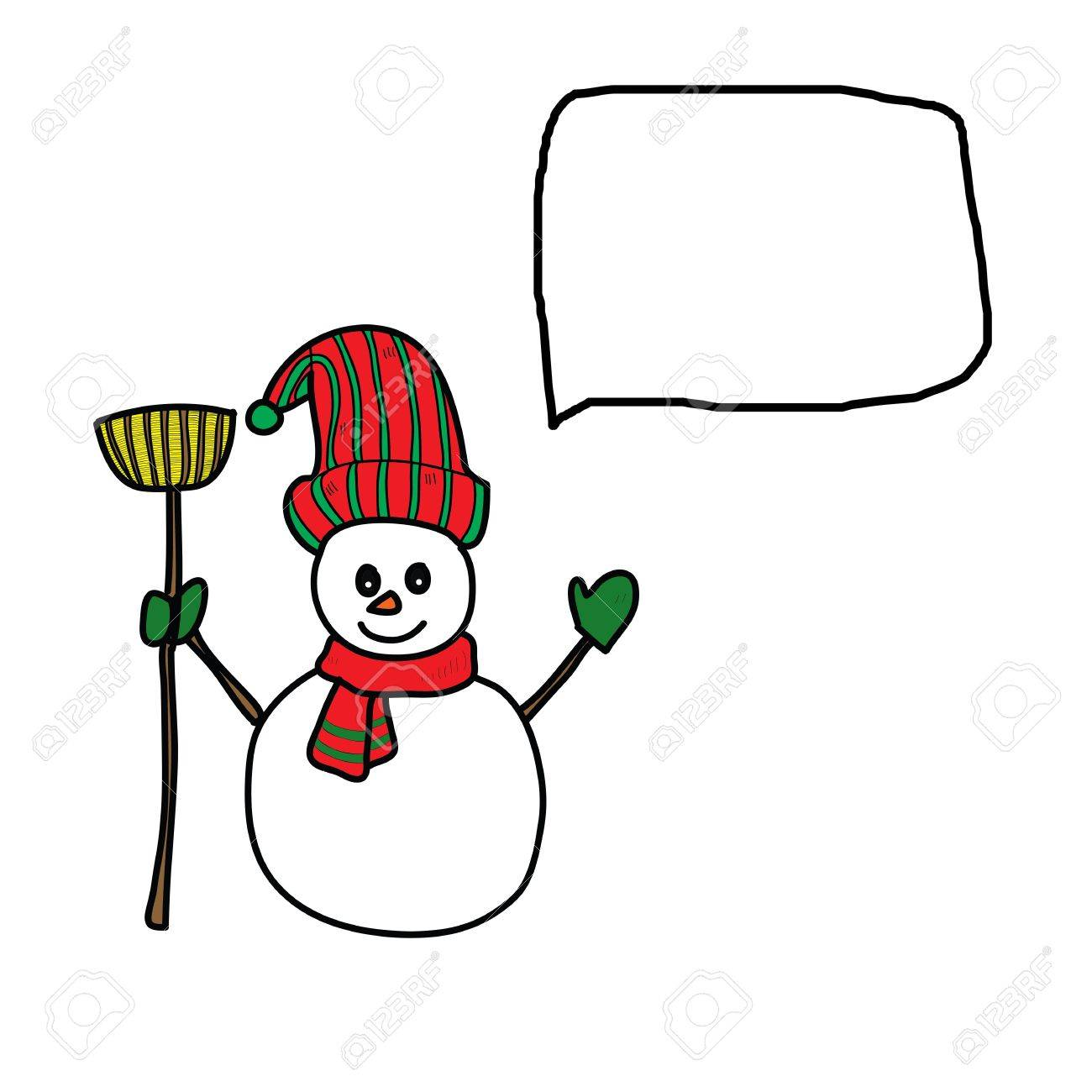cartoon snowman hand drawn illustration Stock Vector - 16055600