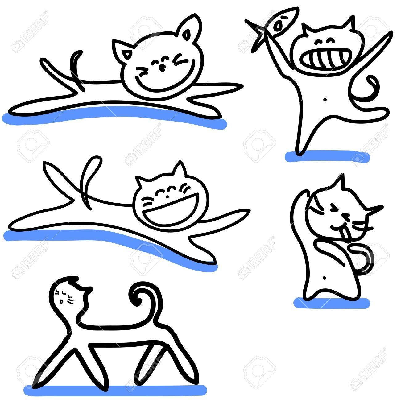 cartoon funny cats hand-drawn illustration Stock Vector - 16544286