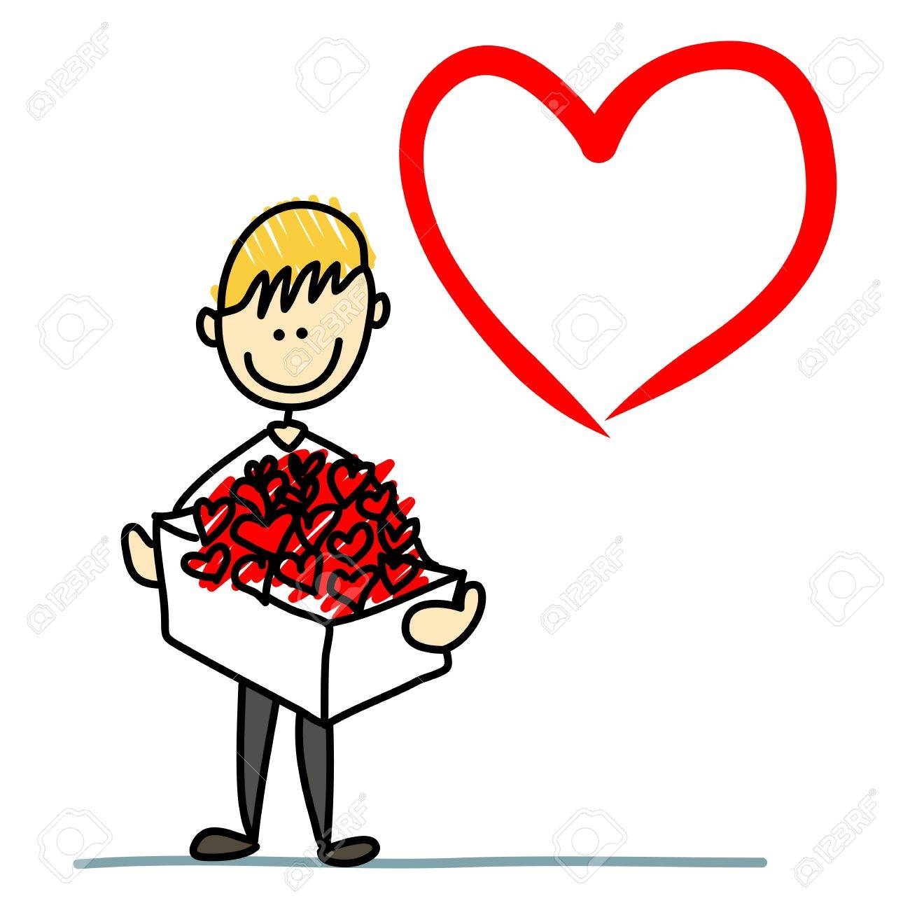 Cartoon Character Boy In Love Hand-drawn With Hearts Box Royalty ...