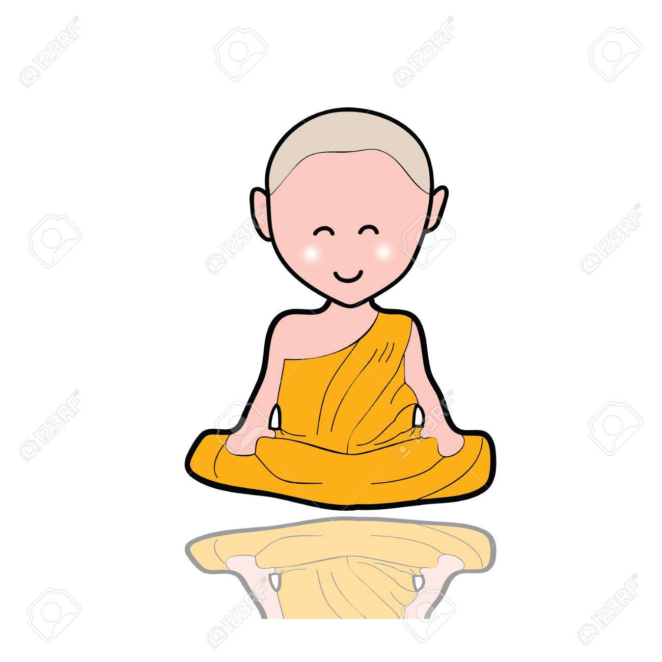 hand-drawn cartoon character happy buddhist monk for religion Stock Vector - 17694036