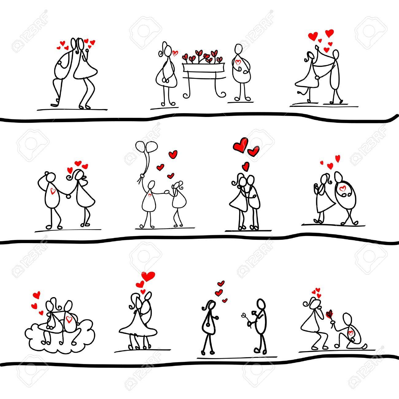 cartoon hand-drawn love character - 17875844