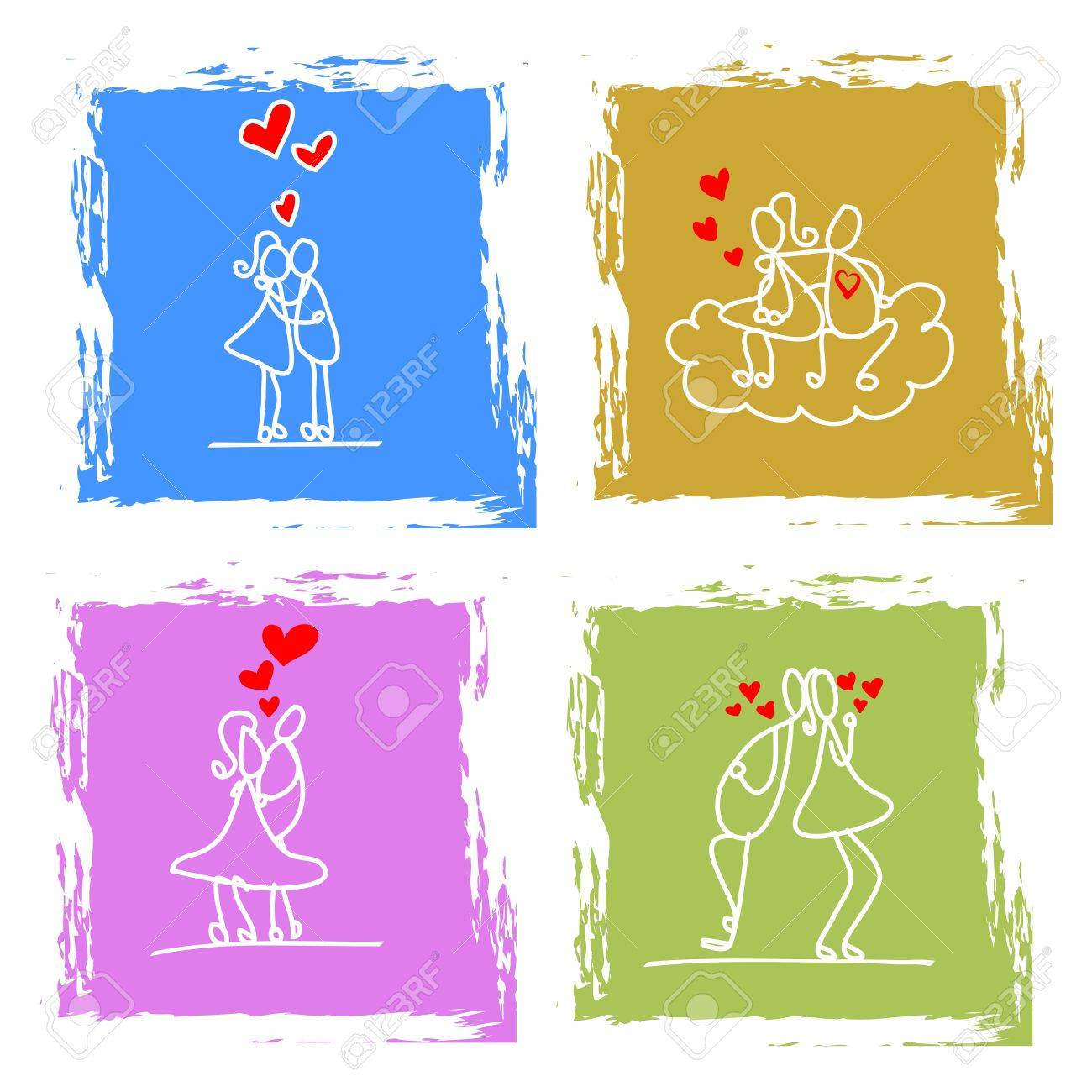 hand-drawn character love couple illustration Stock Vector - 17875841