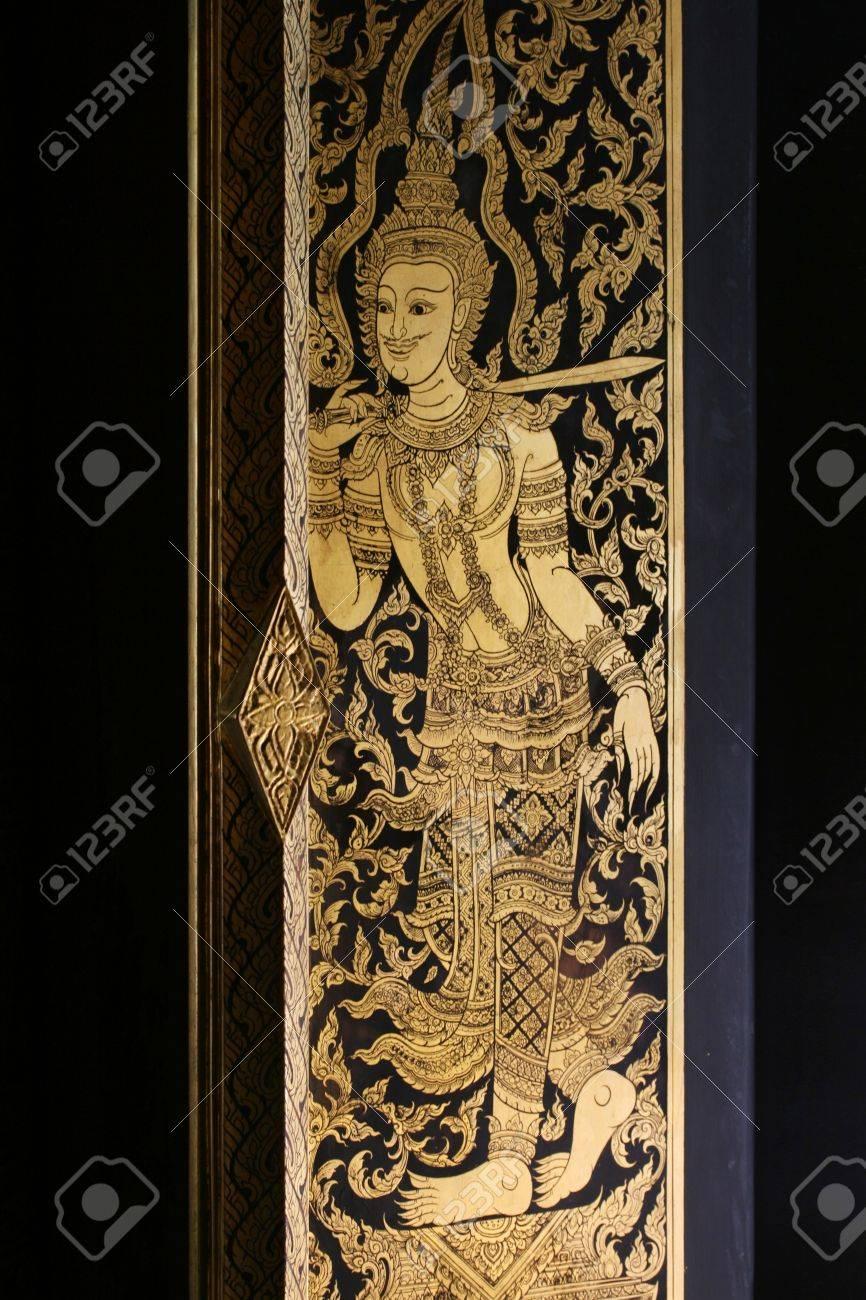 ancient thai lacquer work at the door of Wat Rakang temple Bangkok Thailand beautiful traditional & Ancient Thai Lacquer Work At The Door Of Wat Rakang Temple Bangkok ...