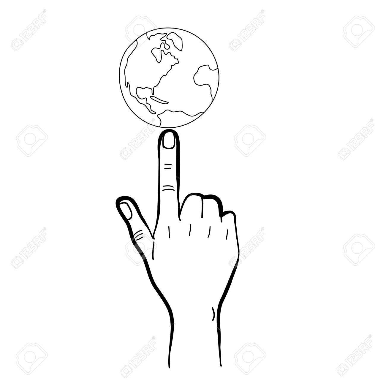 hand drawing freehand sketch hand pointing globe for design Stock Vector - 18817010