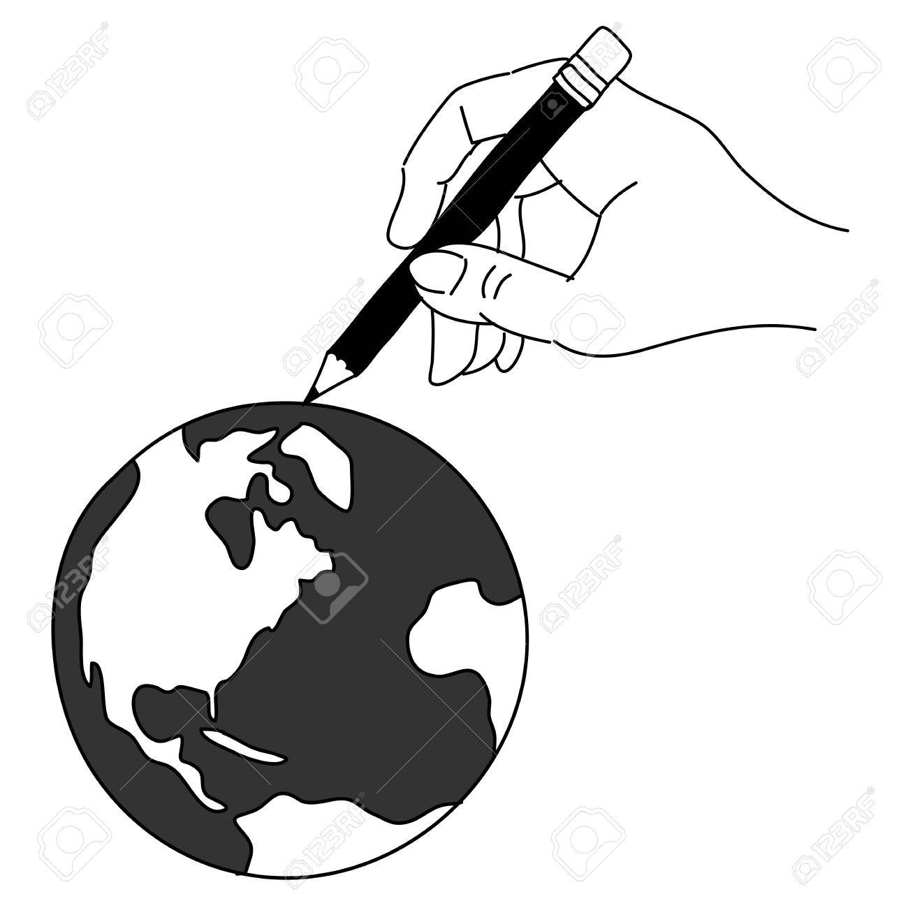 hand drawing freehand sketch global for design Stock Vector - 18817165