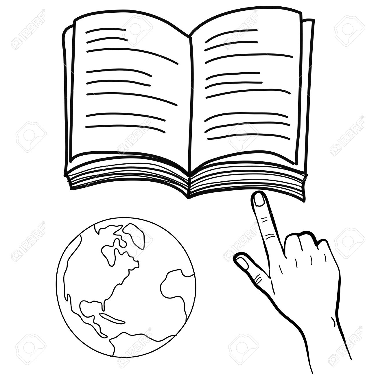 hand drawing freehand sketch hand pointing book and globe vector for design Stock Vector - 18817364