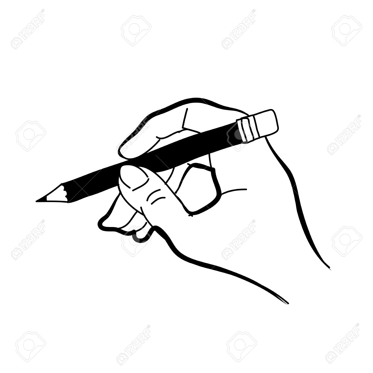 Hand drawing freehand sketch hand holding pencil for design stock vector 18817163