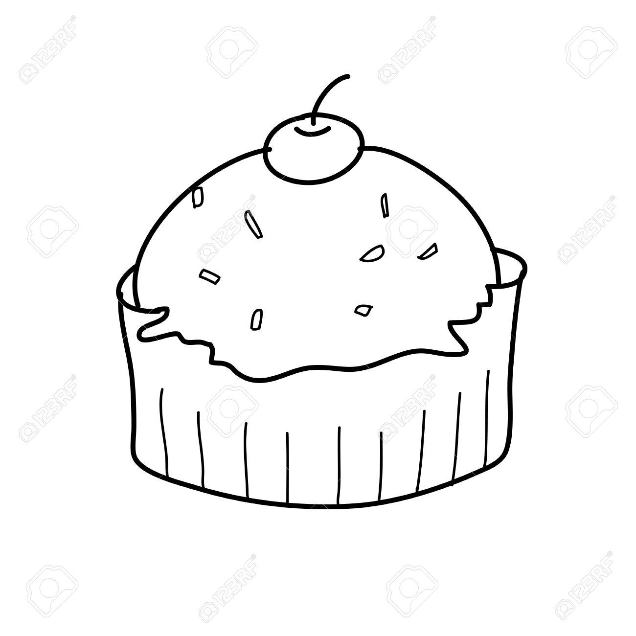 Dessin Libre coupe croquis de gâteau dans le style dessin noir et blanc main