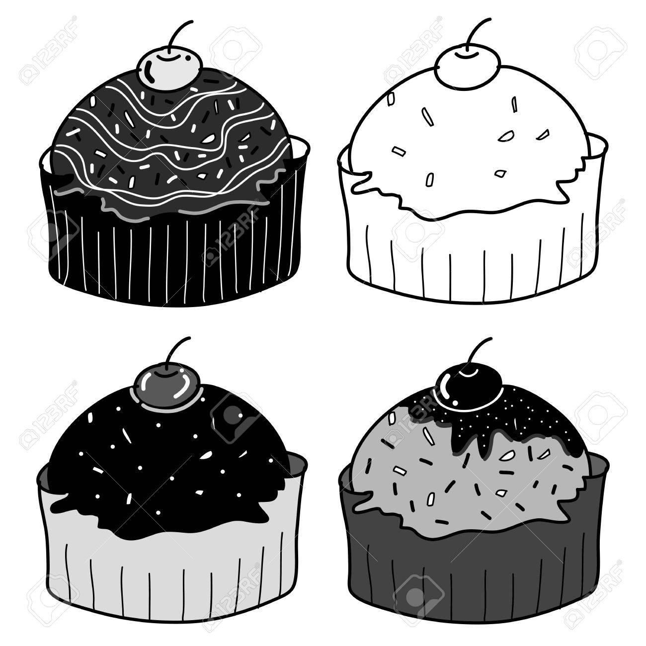 Ensemble De Gâteaux De Tasse Croquis Dans Un Style Dessin Noir Et Blanc Main Libre