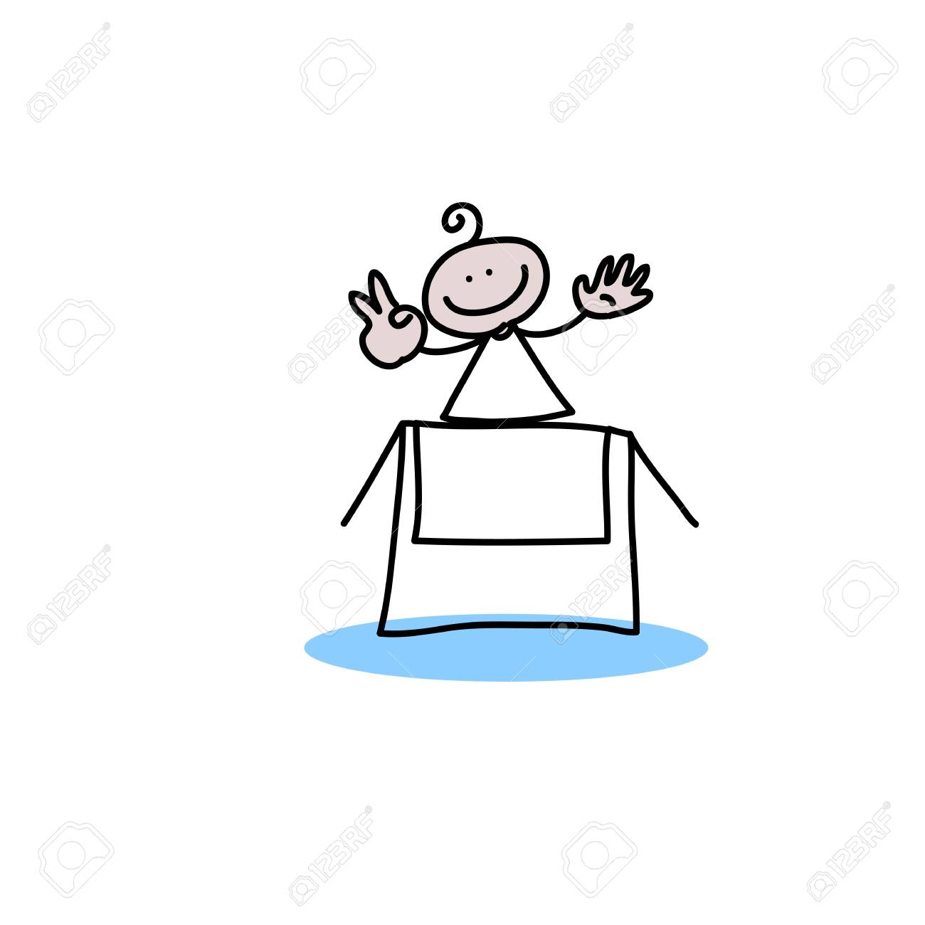 hand drawing cartoon characters creativity for presentation Stock Vector - 19140550