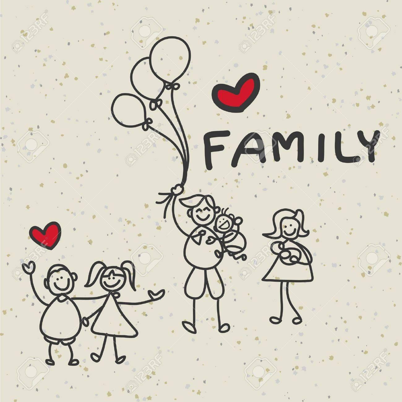hand drawing cartoon character happy family - 19222466