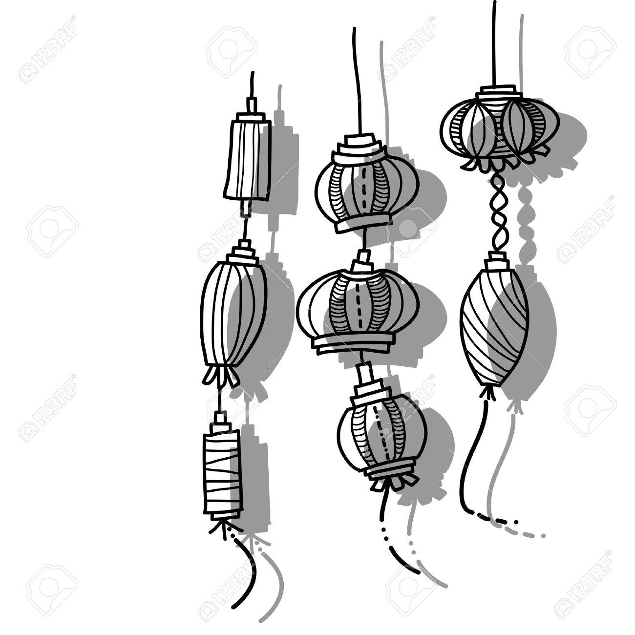 hand drawing lantern festival - 19608779