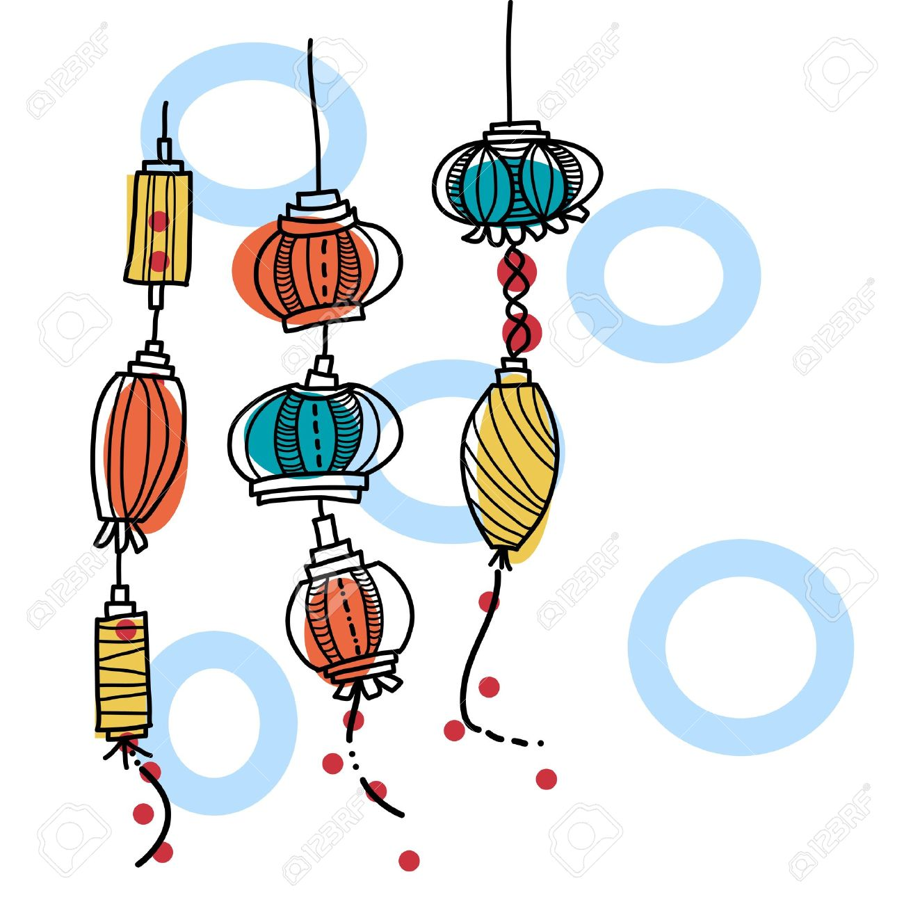 hand drawing lantern festival - 19608785