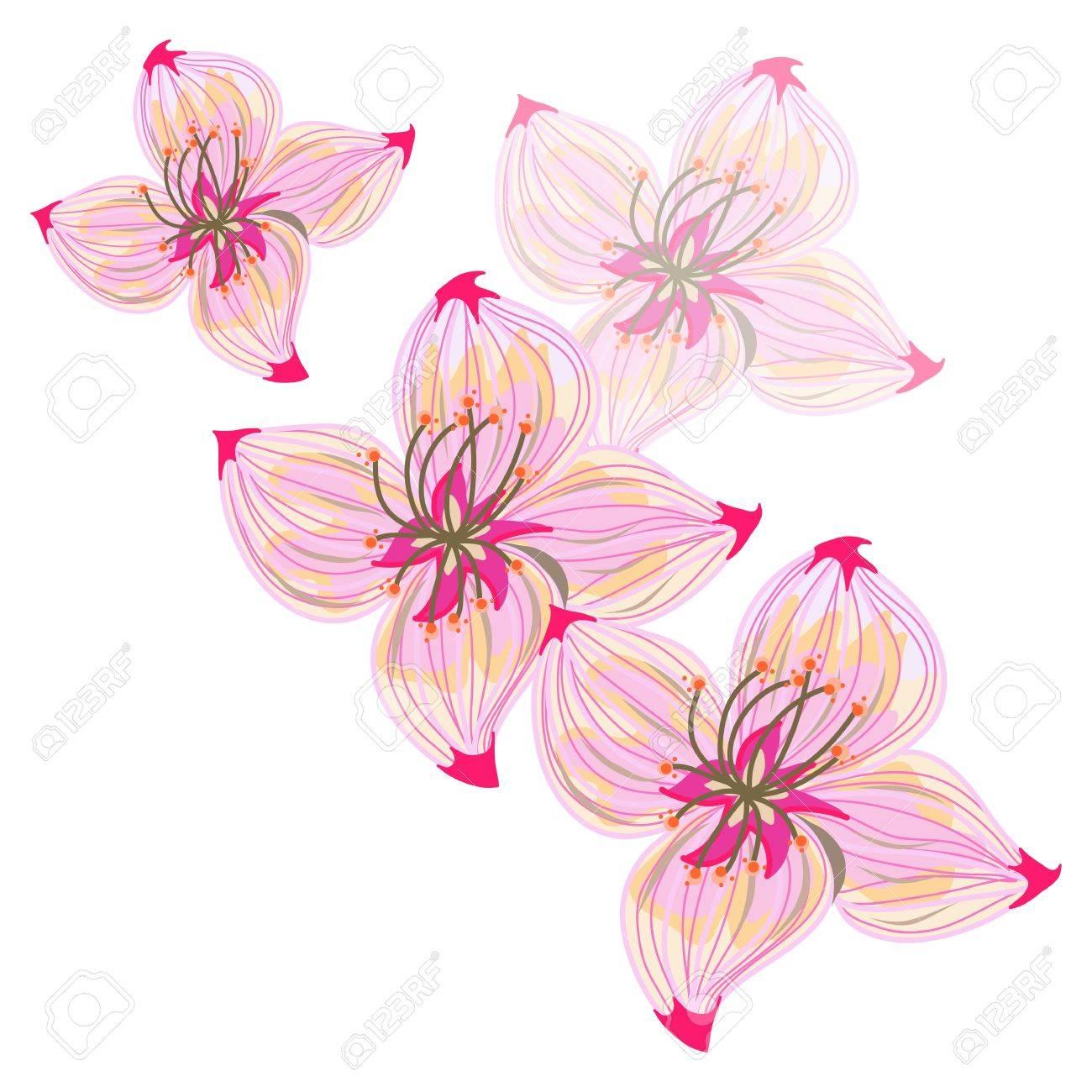 main dessin abstrait fleur rose clip art libres de droits
