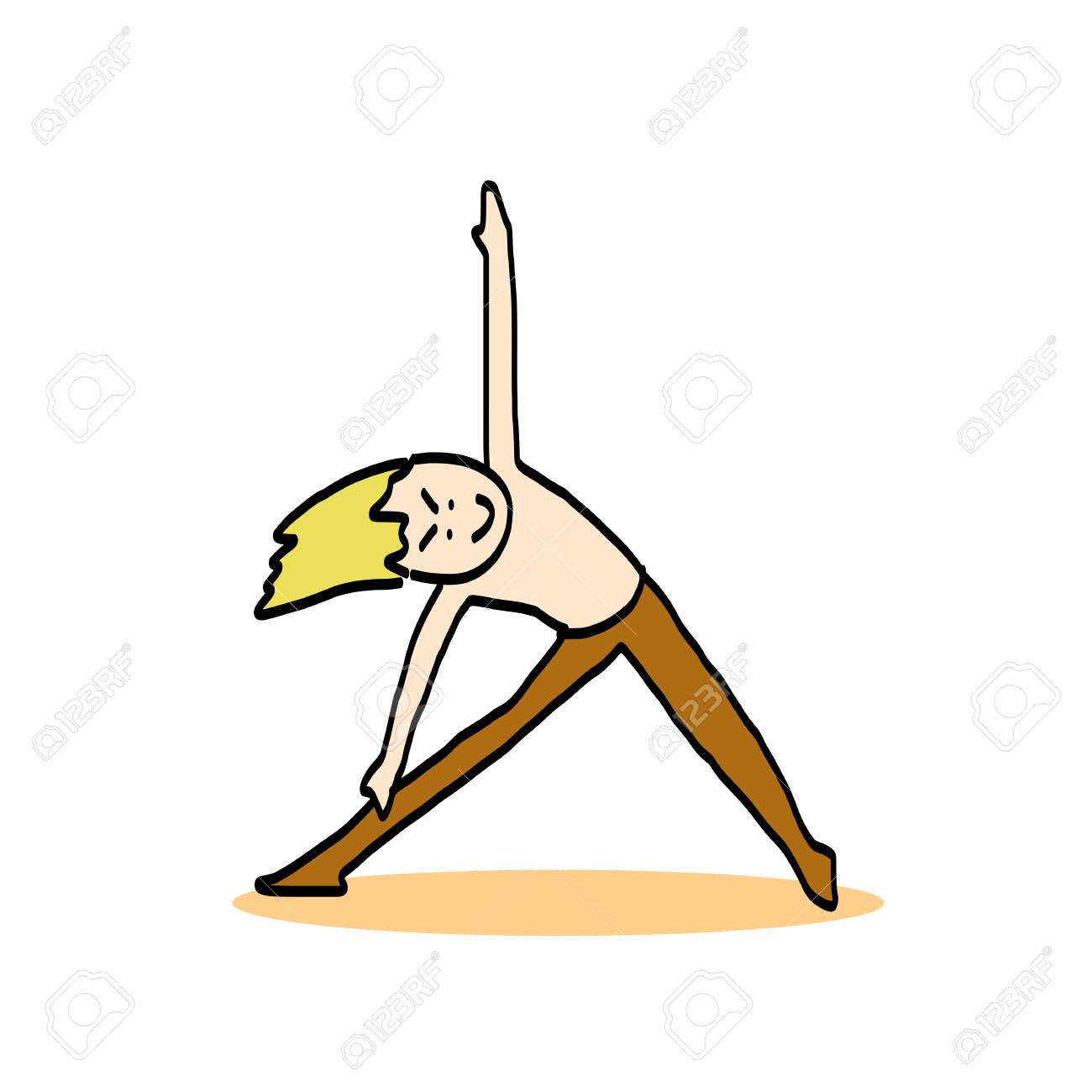 hand drawing cartoon character man practicing yoga for design Stock Vector - 21186903