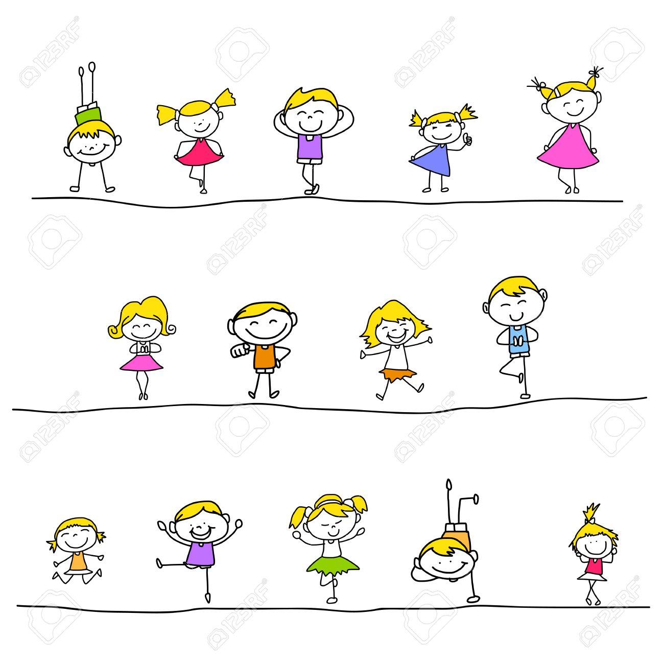 hand drawing cartoon happy kids playing - 21186905