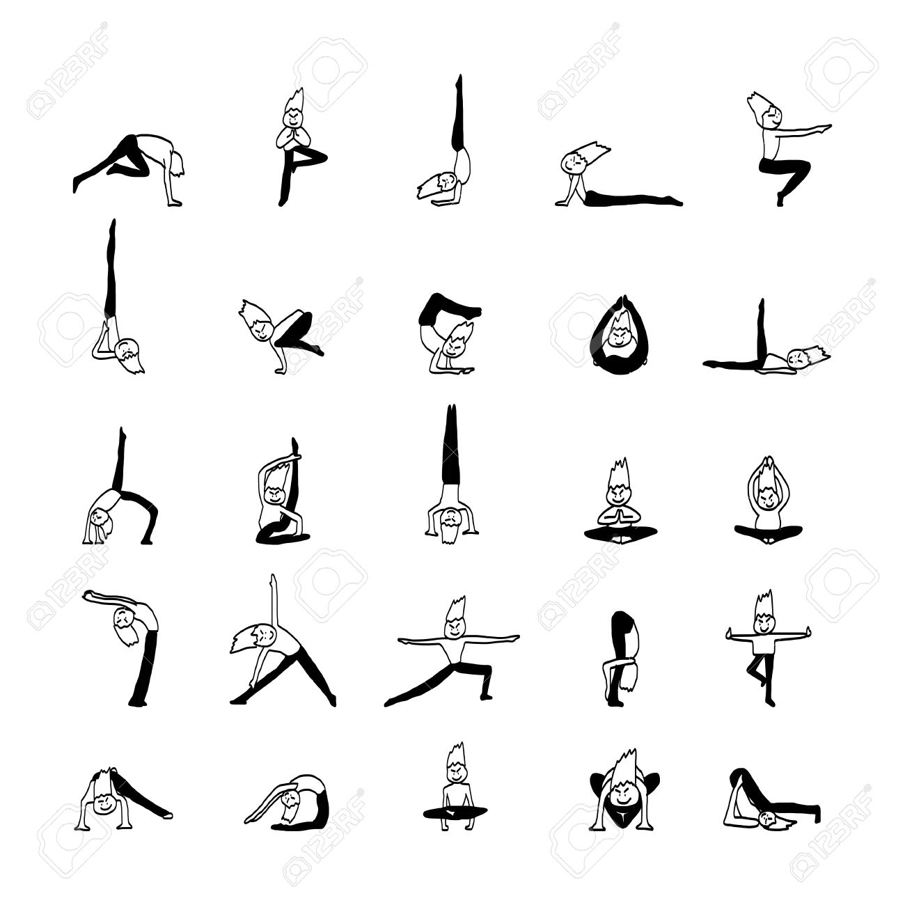 Hand Drawing Cartoon Character Man Practicing Yoga For Design