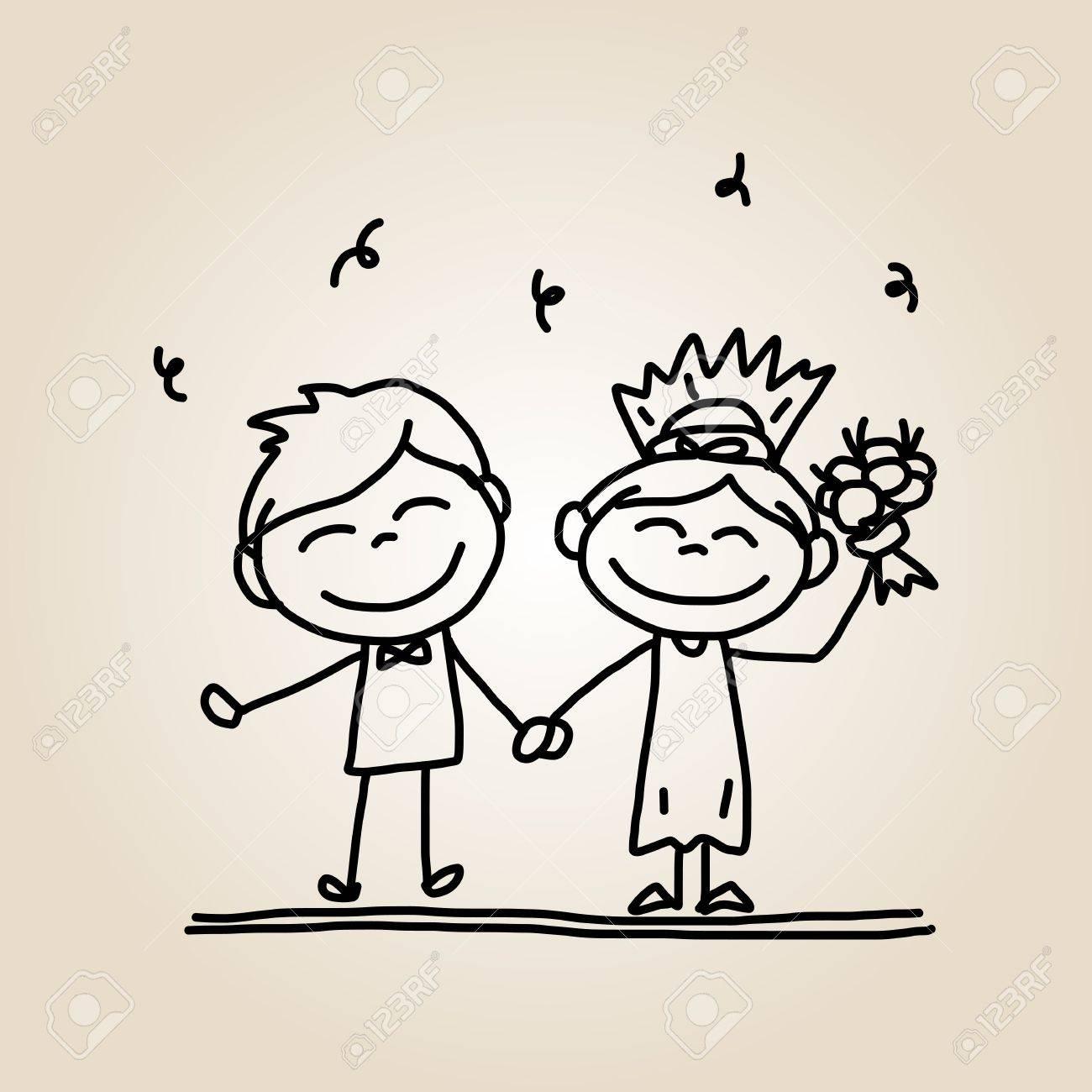 dessin animé mariage dessin à la main de bande dessinée les gens heureux mariage Illustration