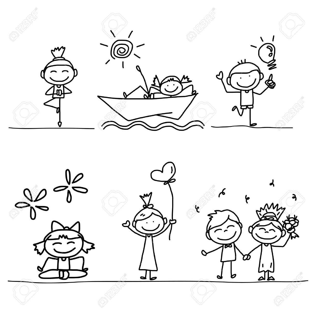 set of hand drawing cartoon happy kids playing - 21396859