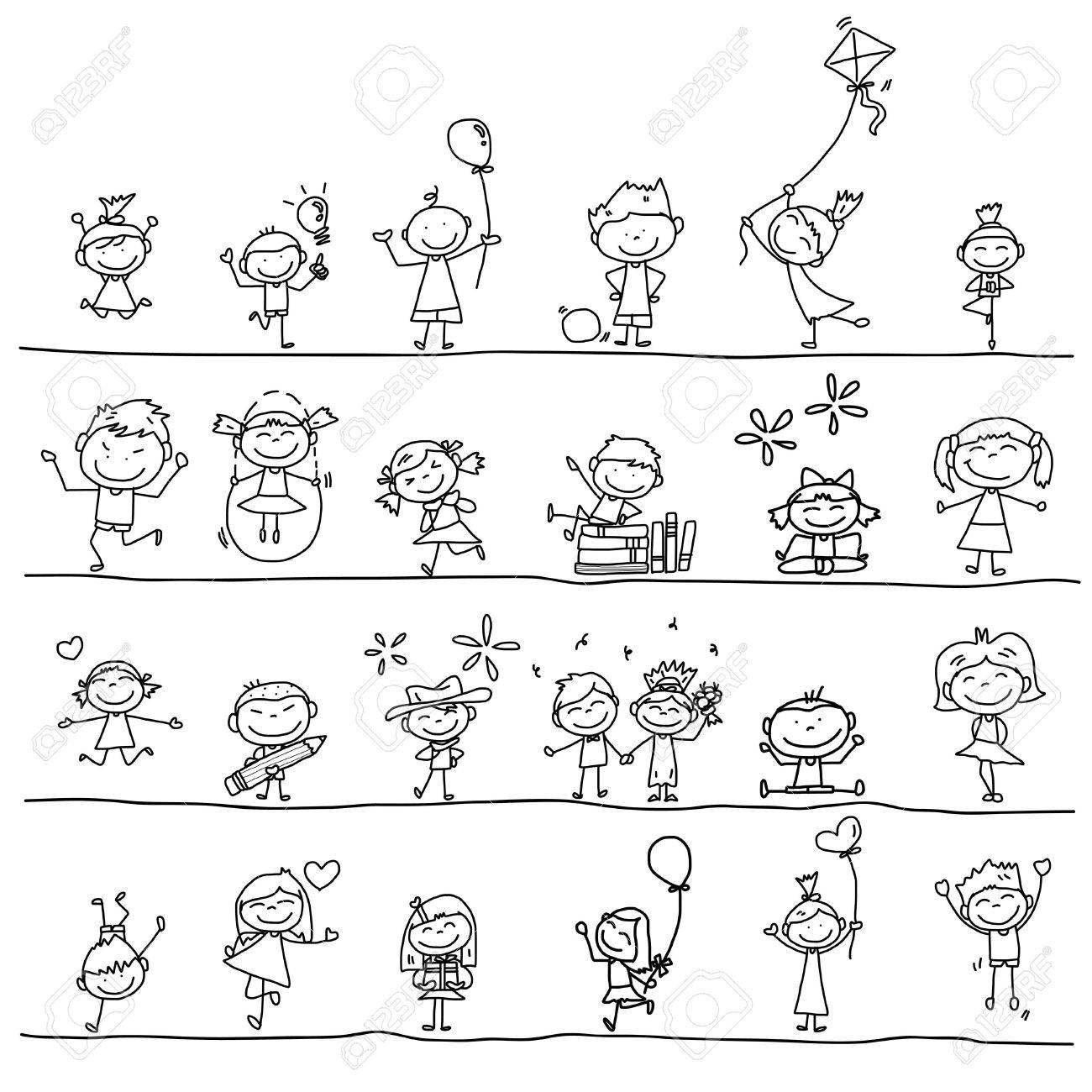 hand drawing cartoon happy kids playing - 21396893