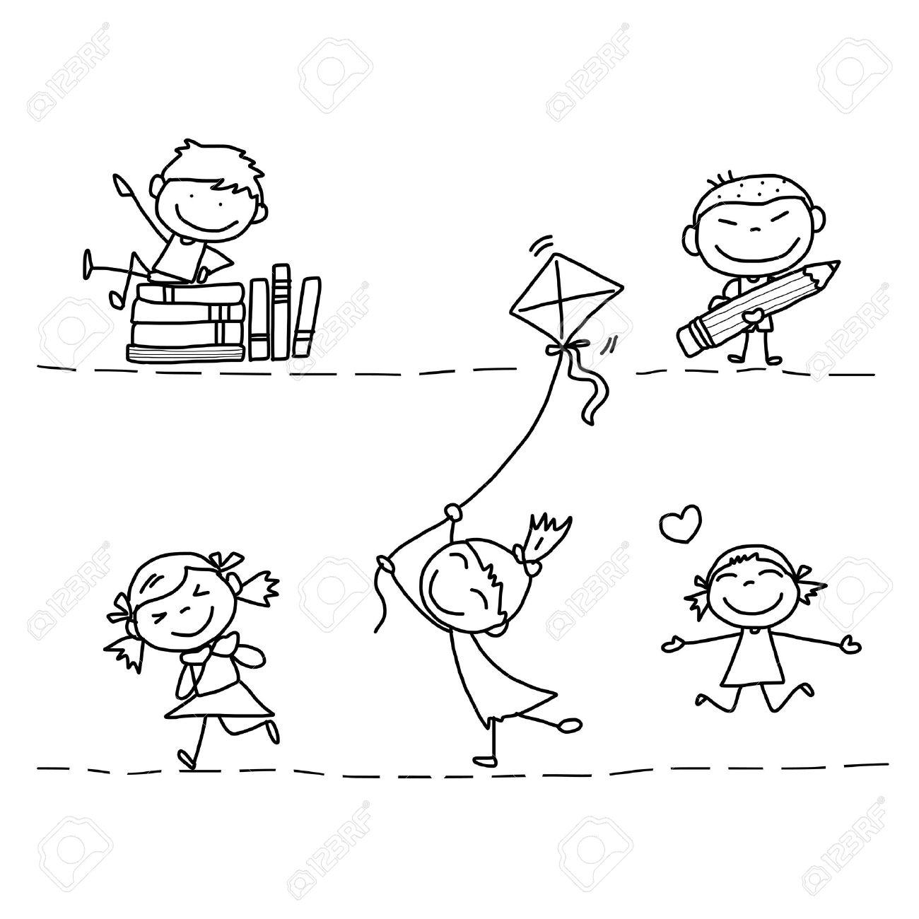 set of hand drawing cartoon happy kids playing - 21396896