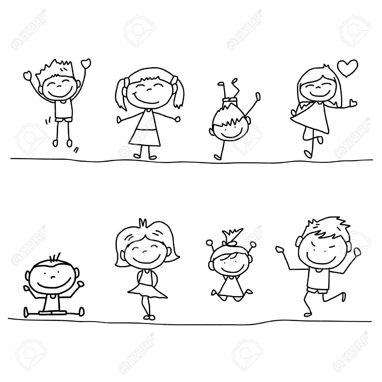 set of hand drawing cartoon happy kids playing - 21396897