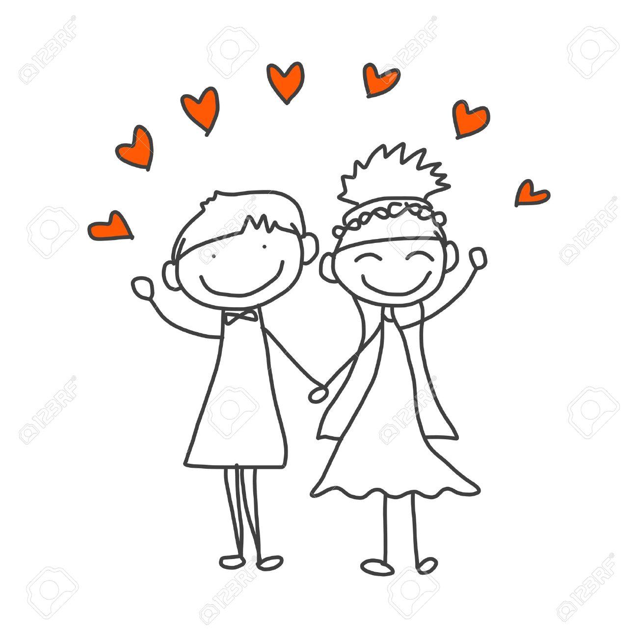 dessin animé mariage dessin à la main caricature heureux couple de mariage