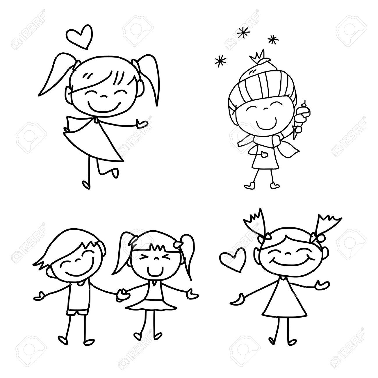 vector hand drawing cartoon happy kids playing - Cartoon Drawings Kids
